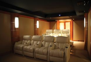 Home Theater with Stretch-Fabric, Wall Upholstery